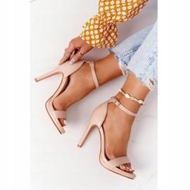 PG1 Eleganckie Sandały Na Szpilce Nude Glamour różowe 6