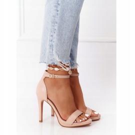 PG1 Eleganckie Sandały Na Szpilce Nude Glamour różowe 2