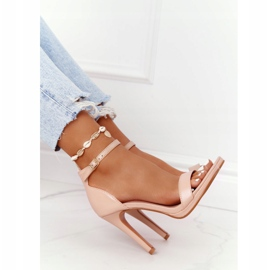 PG1 Eleganckie Sandały Na Szpilce Nude Glamour różowe 5