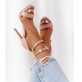 PG1 Eleganckie Sandały Na Szpilce Nude Glamour różowe 1