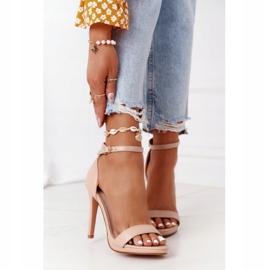 PG1 Eleganckie Sandały Na Szpilce Nude Glamour różowe 4