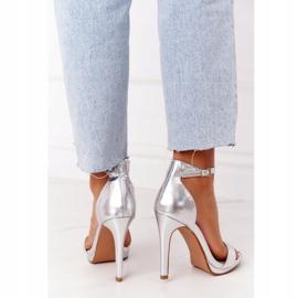 PG1 Eleganckie Sandały Na Szpilce Srebrne Glamour srebrny 3