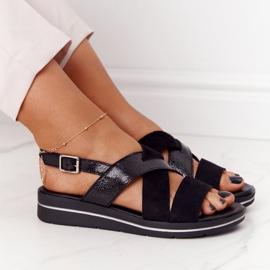 Zamszowe Sandały Sergio Leone SK039 Czarno-Srebrne czarne 1