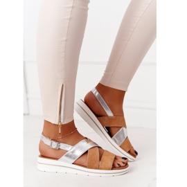 Zamszowe Sandały Sergio Leone SK039 Beżowo-Srebrne beżowy srebrny 3