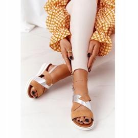 Zamszowe Sandały Sergio Leone SK039 Beżowo-Srebrne beżowy srebrny 5