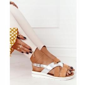 Zamszowe Sandały Sergio Leone SK039 Beżowo-Srebrne beżowy srebrny 1