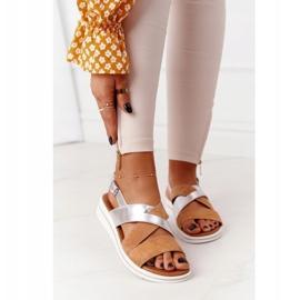 Zamszowe Sandały Sergio Leone SK039 Beżowo-Srebrne beżowy srebrny 2
