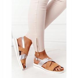 Zamszowe Sandały Sergio Leone SK039 Beżowo-Srebrne beżowy srebrny 4