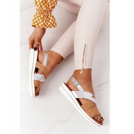 Zamszowe Sandały Sergio Leone SK039 Beżowo-Srebrne beżowy srebrny 6