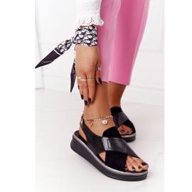 Wsuwane Sandały Na Platformie Sergio Leone SK029 Czarne 2