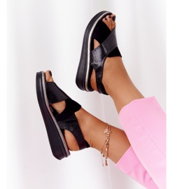 Wsuwane Sandały Na Platformie Sergio Leone SK029 Czarne 1