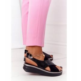 Wsuwane Sandały Na Platformie Sergio Leone SK029 Czarne 4