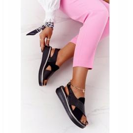 Wsuwane Sandały Na Platformie Sergio Leone SK029 Czarne 7
