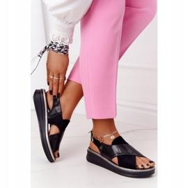 Wsuwane Sandały Na Platformie Sergio Leone SK029 Czarne 5