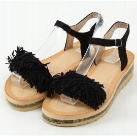 Sandałki z frędzelkami czarne JN315 Black 1
