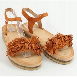 Sandałki z frędzelkami camel JN315 Camel brązowe 1