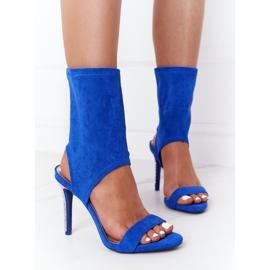 Sandały Na Szpilce Z Cyrkoniami Lu Boo Niebieskie srebrny 1