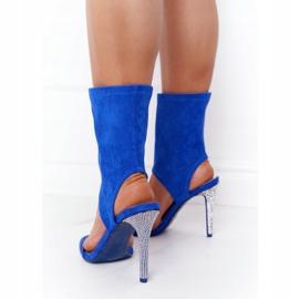 Sandały Na Szpilce Z Cyrkoniami Lu Boo Niebieskie srebrny 2