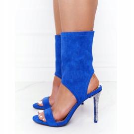 Sandały Na Szpilce Z Cyrkoniami Lu Boo Niebieskie srebrny 3