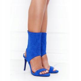 Sandały Na Szpilce Z Cyrkoniami Lu Boo Niebieskie srebrny 4