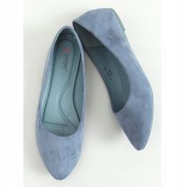 Baleriny gładkie zamszowe niebieskie CC212P Blue 3
