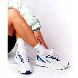 Damskie Sportowe Buty Memory Foam Big Star HH274810 Białe niebieskie zielone 1