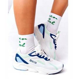 Damskie Sportowe Buty Memory Foam Big Star HH274810 Białe niebieskie zielone 2