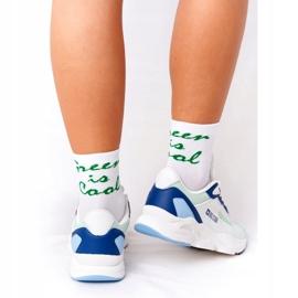 Damskie Sportowe Buty Memory Foam Big Star HH274810 Białe niebieskie zielone 3
