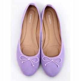Baleriny damskie zamszowe fioletowe 1JB-19116 Purple 1