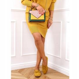 Mokasyny damskie klasyczne musztardowe 3394 Yellow żółte 3