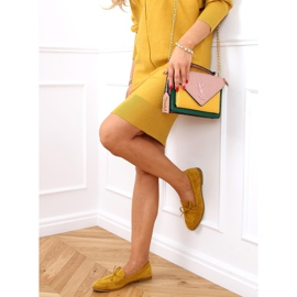 Mokasyny damskie klasyczne musztardowe 3394 Yellow żółte 2