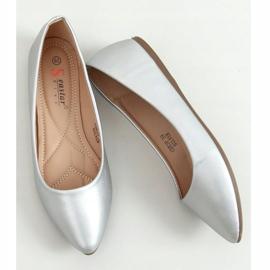 Baleriny z migdałowymi noskami srebrne CD53P Silver srebrny 3