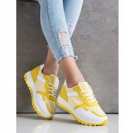Bestelle Sneakersy Z Brokatową Platformą białe żółte 2