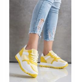 Bestelle Sneakersy Z Brokatową Platformą białe żółte 3