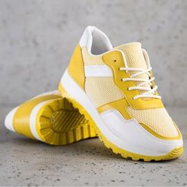 Bestelle Sneakersy Z Brokatową Platformą białe żółte 1
