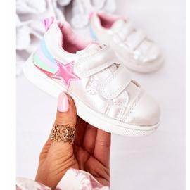 PE1 Dziecięce Eko-skóra Sportowe Buty Z Tęczą Białe Jasmine wielokolorowe 2