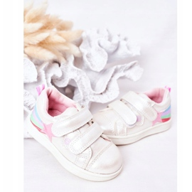 PE1 Dziecięce Eko-skóra Sportowe Buty Z Tęczą Białe Jasmine wielokolorowe 3