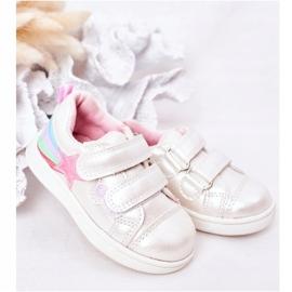 PE1 Dziecięce Eko-skóra Sportowe Buty Z Tęczą Białe Jasmine wielokolorowe 1