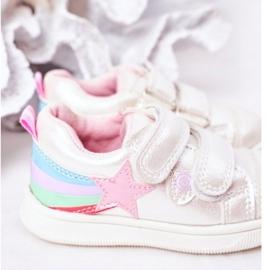 PE1 Dziecięce Eko-skóra Sportowe Buty Z Tęczą Białe Jasmine wielokolorowe 4