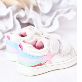 PE1 Dziecięce Eko-skóra Sportowe Buty Z Tęczą Białe Jasmine wielokolorowe 5