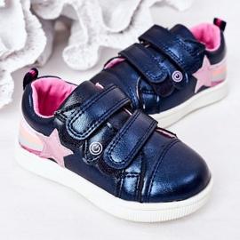PE1 Dziecięce Eko-skóra Sportowe Buty Z Tęczą Granatowe Jasmine wielokolorowe 4