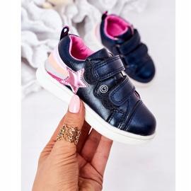 PE1 Dziecięce Eko-skóra Sportowe Buty Z Tęczą Granatowe Jasmine wielokolorowe 2