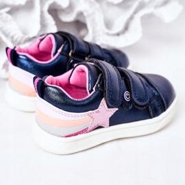 PE1 Dziecięce Eko-skóra Sportowe Buty Z Tęczą Granatowe Jasmine wielokolorowe 1