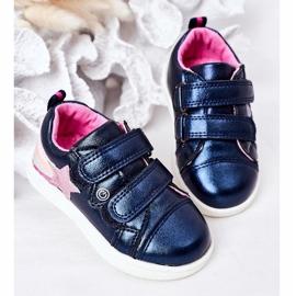 PE1 Dziecięce Eko-skóra Sportowe Buty Z Tęczą Granatowe Jasmine wielokolorowe 3