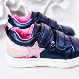 PE1 Dziecięce Eko-skóra Sportowe Buty Z Tęczą Granatowe Jasmine wielokolorowe 5
