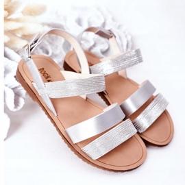 FR1 Dziecięce Błyszczące Sandały Srebrne Natalie srebrny 2