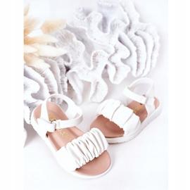 FR1 Dziecięce Sandały Na Rzep Białe Aimy 4