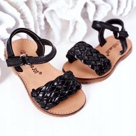 FR1 Dziecięce Sandały Z Plecionką Czarne Bailly 7