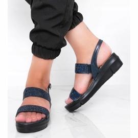 Granatowe sandały na koturnie Sweet Rasp 1