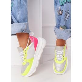 Damskie Sportowe Buty Na Platformie Lu Boo Białe wielokolorowe 2